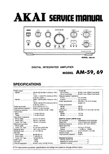 AKAI Model AM 59-69 Digital Integrated Amplifier Service Manual