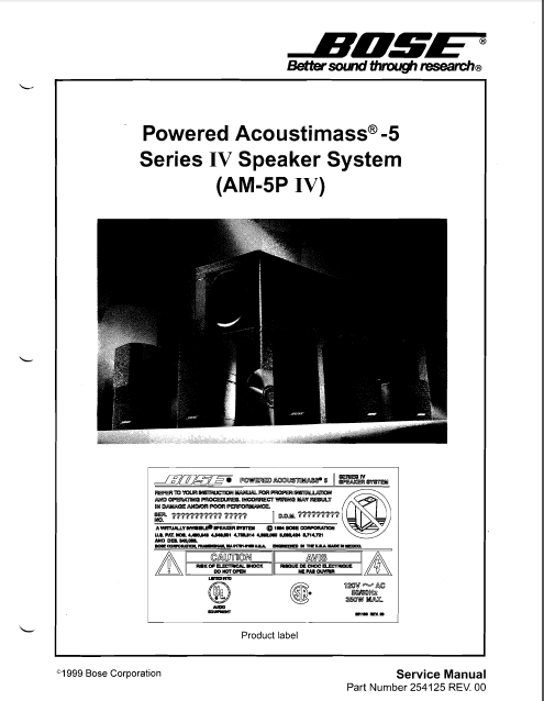 BOSE AM5 Series IV Speaker System Service Manual