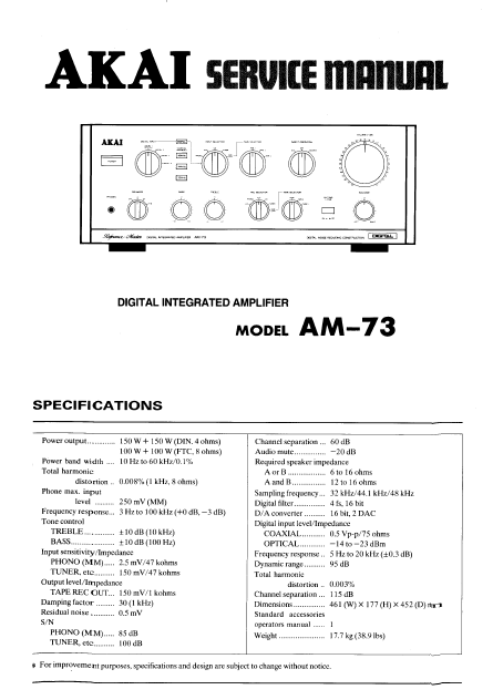 AKAI Model AM-73 Digital Integrated Amplifier Service Manual