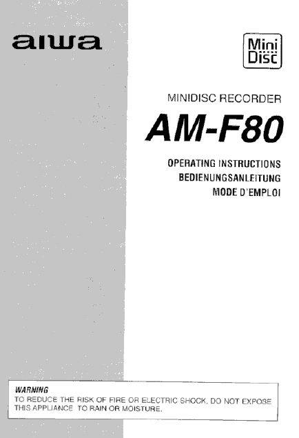 AIWA AM-F80 Mini Disc Recorder Operation Manual