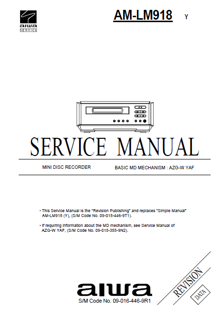 AIWA AM-LM918Y MD Recorder Revision Service Manual
