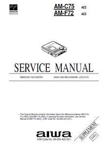 AIWA AM-X10 MD Recorder Revision Service Manual