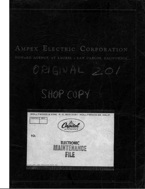 AMPEX MX-201 Electric Maintenance Owner's Manual
