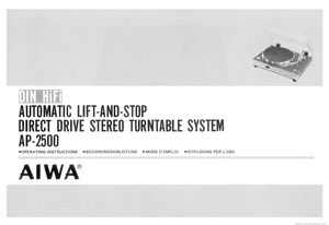 AIWA Automatic Stereo Turntable System AP-2500 Service Manual