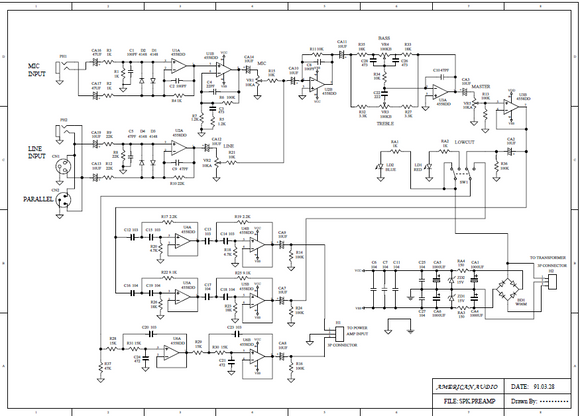American Audio APX-152 Powered Speaker Schematic