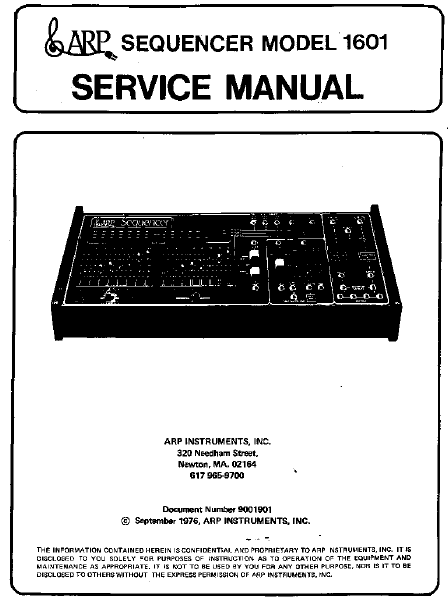 ARP Sequencer 1601 Instruments Service Manual
