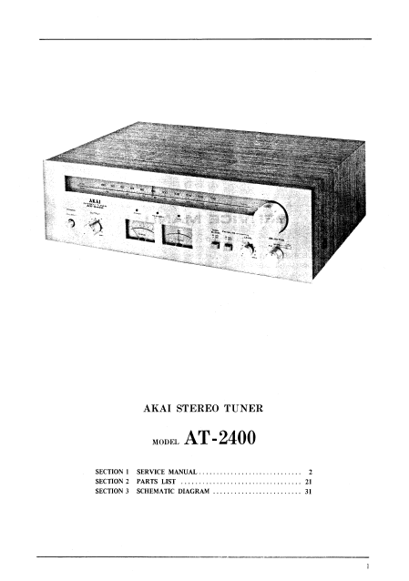 AKAI AT-2400 Stereo Tuner Service Manual