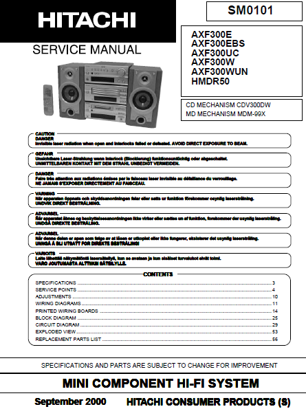 HITACHI AX-F300 Mini Component HI-FI System Service Manual