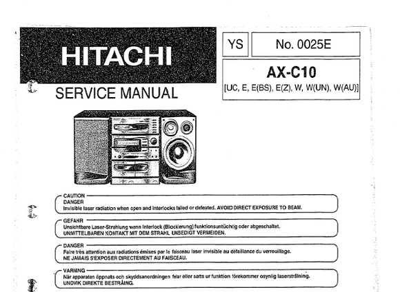 Hitachi AXC10 Service Manual