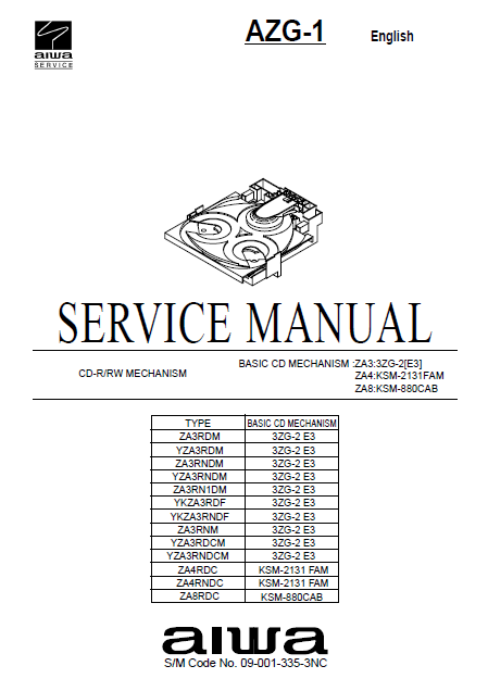 AIWA AZG-1Basic CD Mechanism ZA3 3ZG-2 E3 Service Manual