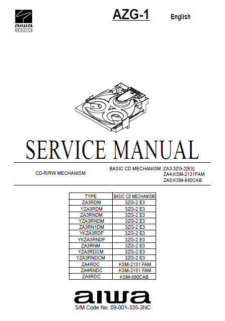 AIWA AZG-1 Basic CD Mechanism ZA3 3ZG-2 E3 Service Manual