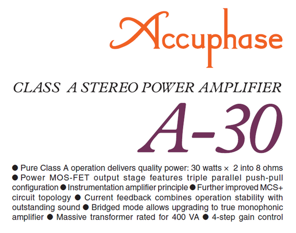 Accuphase A-30 Power Amplifier Owners Manual