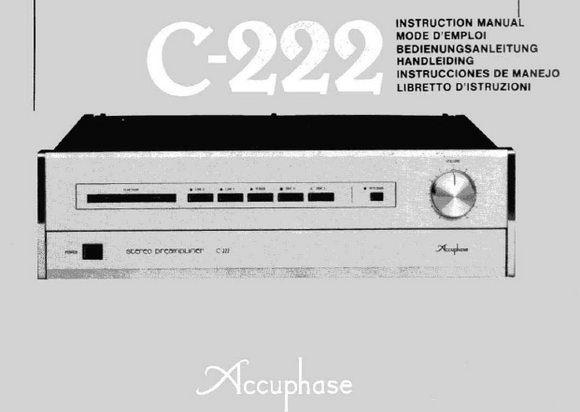 Accuphase C-222 Instruction Manual