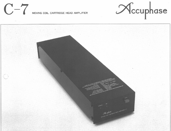 Accuphase C-7 Moving Coil Cartridge Head Amplifier Owners Manual