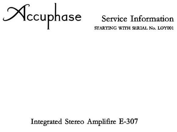 Accuphase E-307 Service Manual