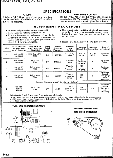 Admiral 5A22 Vintage Radio Operation Manual