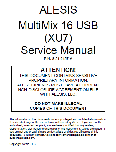 Alesis_MM16USB_Mixer_Service Manual