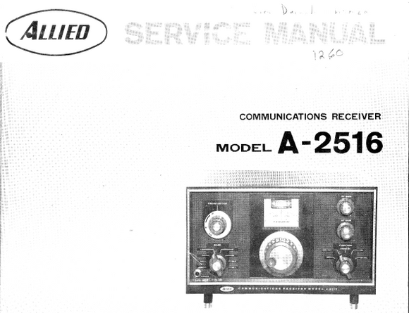 ALLIED A-2516 Communications Receiver Service Manual