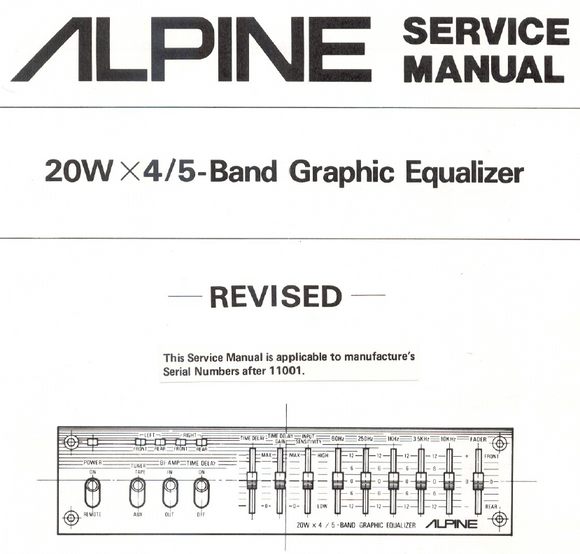 ALPINE 3000 Band Graphic Equalizer Service Manual