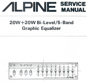ALPINE 3007 Band Graphic Equalizer Service Manual