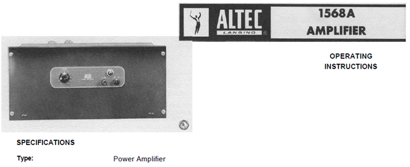 ALTEC LANSING 1568A Amplifier Operations Manual