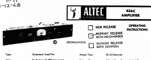 ALTEC LANSING 436C Power Amplifier Operations Manual