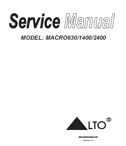ALTO Macro-830 Amplifier Service Manual