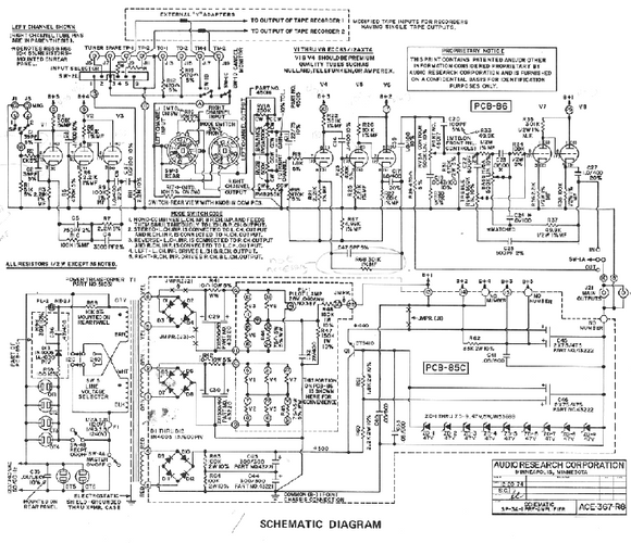 AUDIO RESEARCH SP-3A Preamplifier Schematic