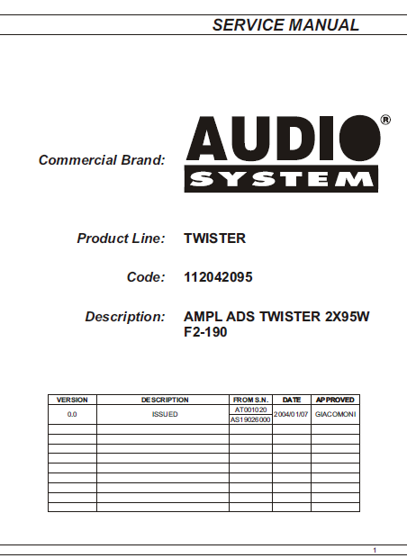 AUDIO System Twister F2-190 Parts List