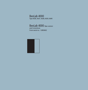 B-O Beolab 4000 Parts List Owner's Manual