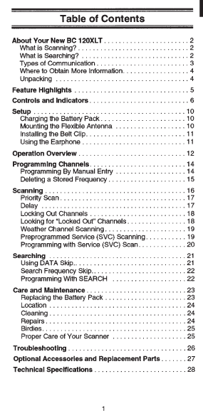 BEARCAT BC-120XLT Twin Turbo Auto Scanner Owner's Manual
