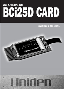 BEARCAT BCi25D Digital Card Owner's Manual
