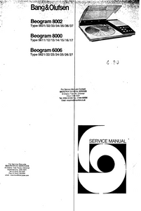 B.O Beogram 8002 Service Manual