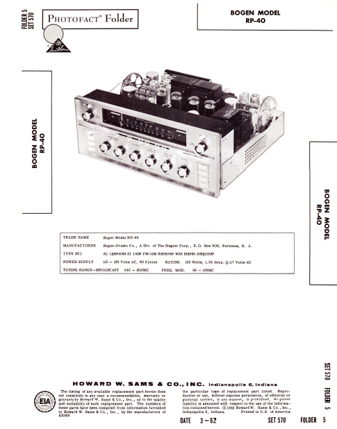 BOGEN Model RP-40 Receiver Stereo Amplifier Instruction Manual