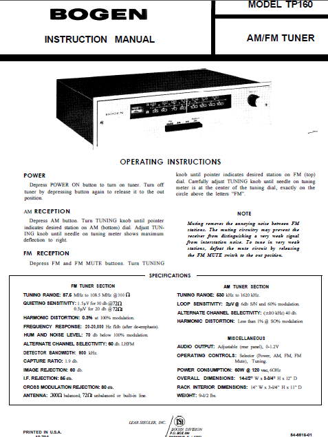 BOGEN Model TP-160 AM FM Tuner Instruction Manual