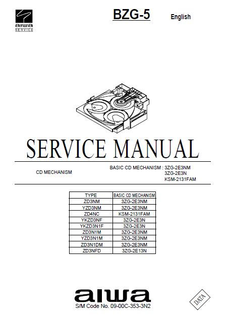 AIWA BZG-5 Basic CD Mechanism 3ZG-2E3NM Service Manual