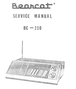 BEARCAT BC-210 Scanning Receiver Service Manual