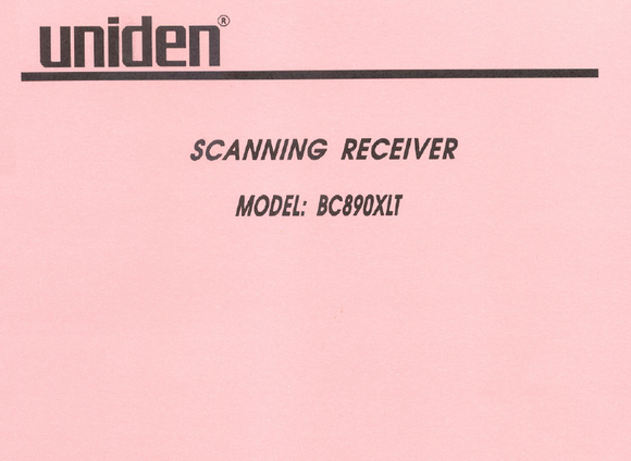 BEARCAT BC-890XLT Scanning Receiver Service Manual