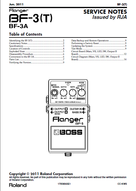 BOSS BF3A Bass Flanger Service Notes