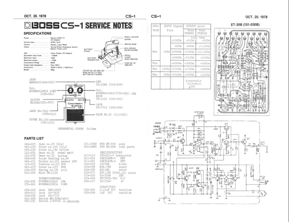 BOSS CS-1 Compression Sustainer Service Notes