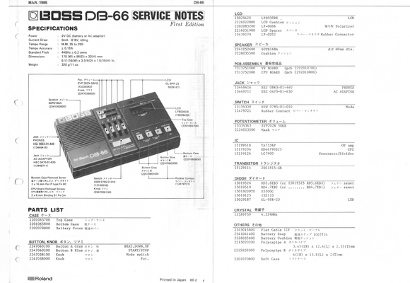 BOSS DB66 Multifunction Service Notes