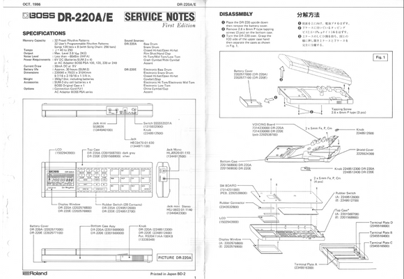 BOSS DR220A-220E Rhythm Drum Computer  Service Notes