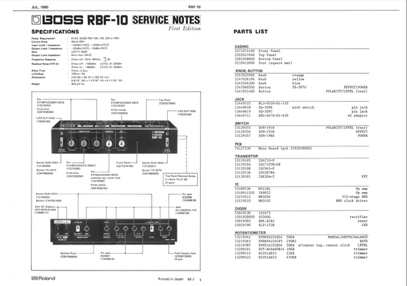 BOSS RBF10 Flanger Service Notes