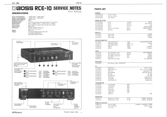 BOSS RCE10 Ensemble Effect Service Notes