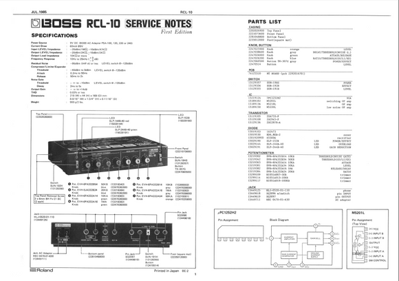 BOSS RCL10 Compressor Limiter Service Notes