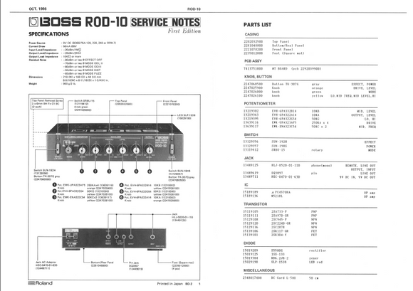 BOSS ROD10 Overdrive Service Notes