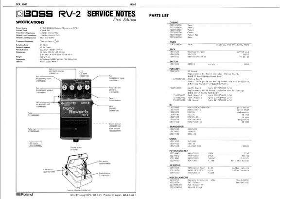 BOSS RV2 Digital Reverb Service Notes