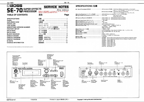 BOSS SE70 Super Effect Processor Service Notes