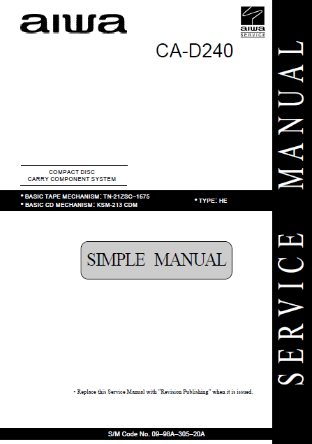 AIWA CA-D240 Simple Compact Disc Service Manual