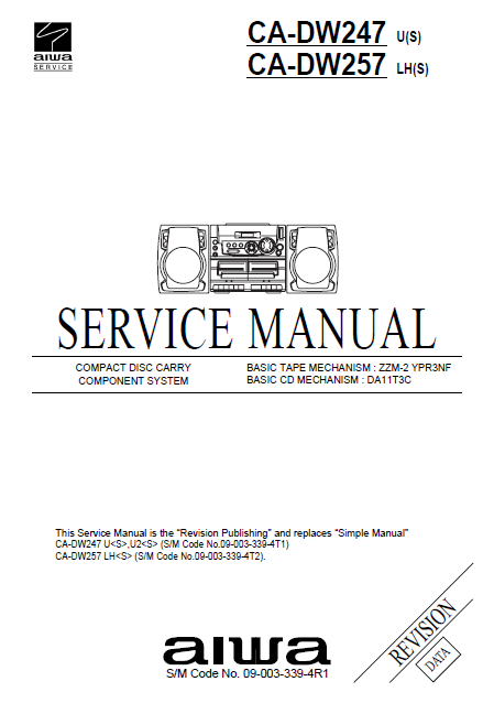 AIWA CA-DW247 U Revision Compact Disc Service Manual